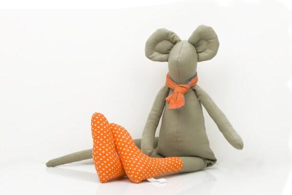 plush Mouse - Khaki Greenish Mouse  Wearing orange dotted socks and  Orange and Turquoise scarf - handmade  doll