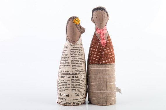 Lovers  -  handmade brown couple fabric dolls - he in brown jacket with circles and pink tie she in  a natural colors newspaper dress