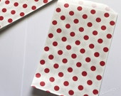 Wedding Favor Bags 20 Red Dots Candy Buffet Bags Kids Birthday Party Paper Goods Bridal Baby Shower Carnival Popcorn Goody Treat Bags