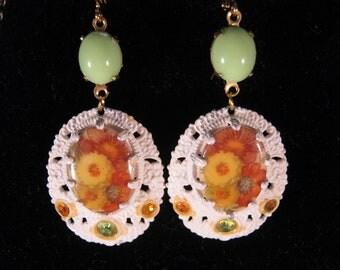 Vintage Earrings, Reclaimed Earrings, Statement Earrings, Flower, Yellow, Orange, Lime, Jennifer Jones, White Enamel, Under 30 - Festive