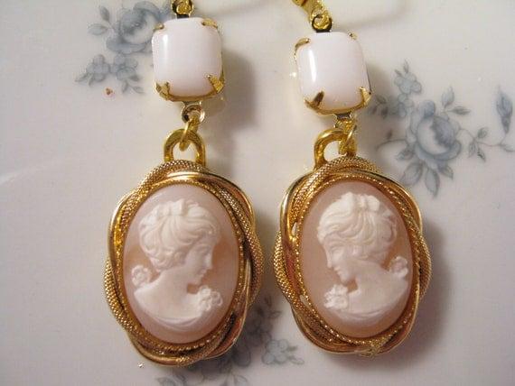Reclaimed Vintage Earrings, Cameo Earrings, Bridesmaid Gift, Wedding Earrings, Pink, White, Milk Glass - Lovely Ladies