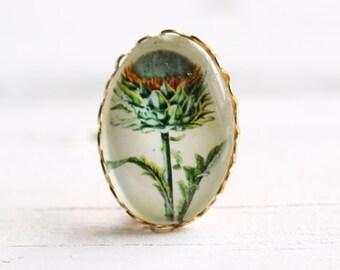 Miniature Vintage Thistle Brooch    Antique Botanical Print Scottish Pin
