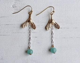 Mistletoe Earrings ... Ice Sycamore Turquoise Seafoam Silver Winter Frost