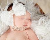 Baby headband, newborn headband, adult headband, child headband and photography prop The single sprinkled- ALL LACE bowheadband