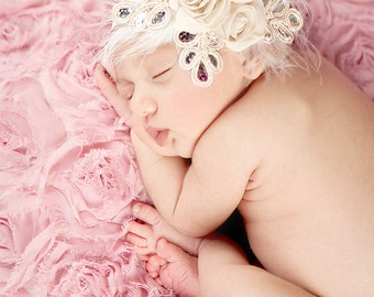 Baby headband, newborn headband, adult headband, child headband and photography prop NEW BEST SELLER Three Rosie chiffon headband