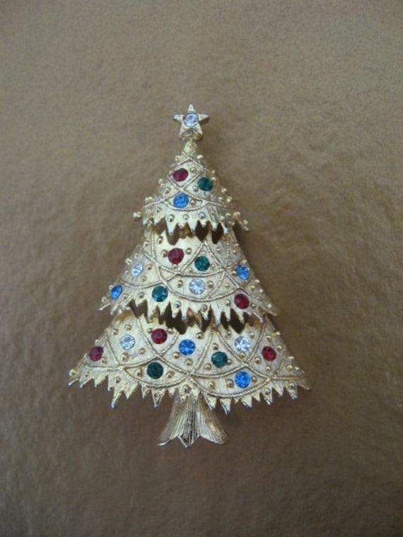 RESERVED     - Vintage Eisenberg Ice Rhinestone Christmas Tree Brooch