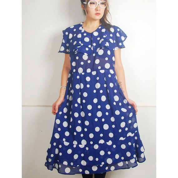 WoozWass Vintage 1960s Japanese big Polka Dots navy blue Chiffon Dress Size L