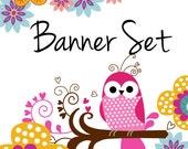 Premade Etsy Shop Banner Avatar Set - colorful flower swirls OWL etsy banner set - no333