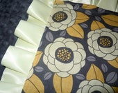 Yellow & Gray Floral Minky Binky with satin ruffle - customize size and colors