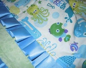 40% OFF all Ready to Ship - Under the Sea Minky Binky with satin ruffle