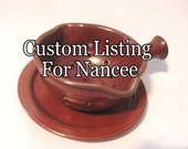 Custom Listing for Nancee - Berry Bowl With Matching Plate - Small Handled Colander Set - Handmade Pottery Glazed Rustic Rust Red