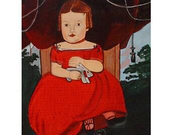 American Folk Art Painting Primitive Decor Girl rabbit Canvas Portrait