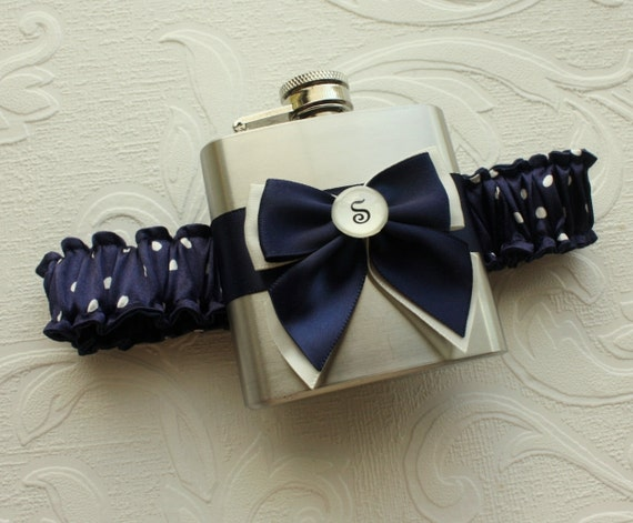 Personalized FLASK GARTER - Navy with Ivory Polka Dots