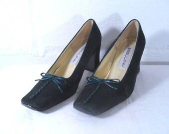 Green Suede Bellini High Heels size 6M Vintage