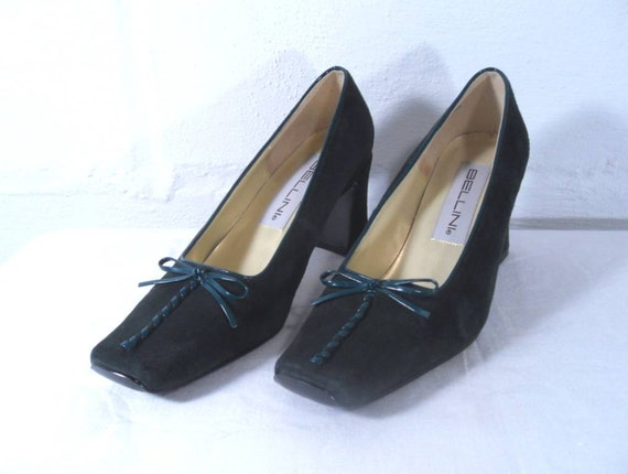 Sale 25% Off Use Coupon Code SAVE25 // Green Suede Bellini High Heels size 6M Vintage