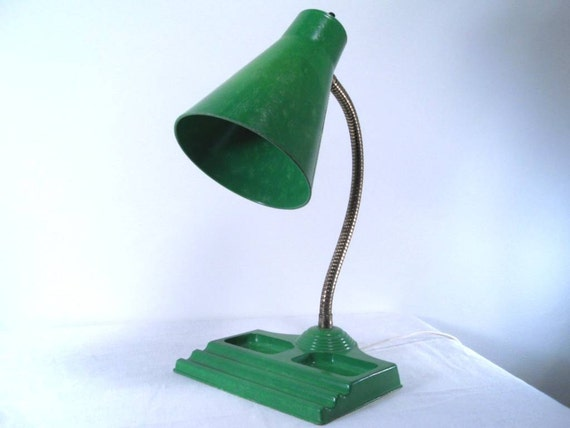 Vintage Goose Neck Lamp Desk Organizer Emerald Green Atomic Deco 50s