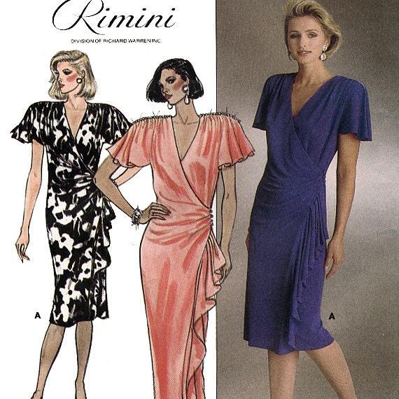 Butterick 3383 by Rimini Vintage 80s Misses' Evening Wrap Dress Sewing Pattern - Uncut - Size 12, 14, 16