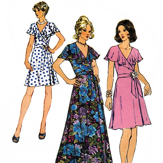 Simplicity 6099 Vintage 70s Misses' Front Wrap Dress in Two Lengths Sewing Pattern - Uncut - Size 10 - Bust 32.5