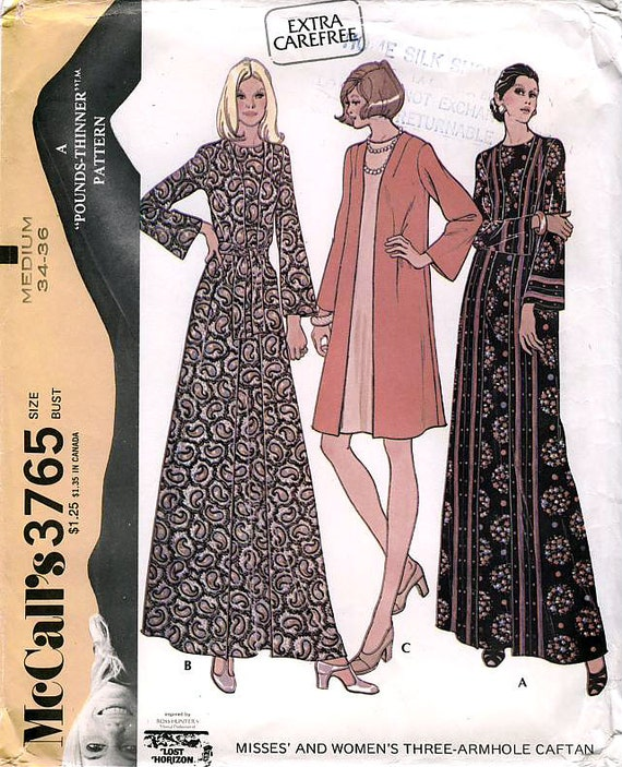McCall's 3765 Vintage 70s Misses' and Women's Three-Armhole Caftan Sewing Pattern - Uncut - Size Medium - Bust 34-36