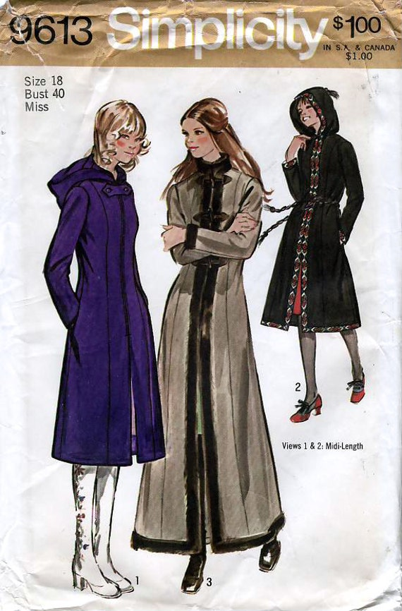 Simplicity 9613 Vintage 70s Misses' Princess Coat in Two Lengths with Hood Sewing Pattern - Uncut - Size 18 - Bust 40