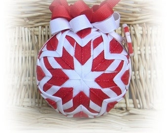 Christmas Quilted Ornament peppermint candy cane decoration red white
