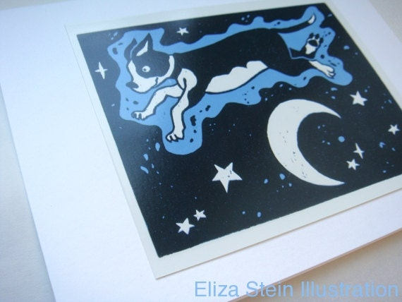 Dog Greeting Card, Moon and Stars, Blue and Black, Cute Puppy, Blank, 5x7 Card