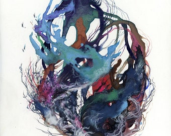 Coil XV / Giclee print / multiple sizes / watercolor / blue / pattern / contemporary artwork / abstract