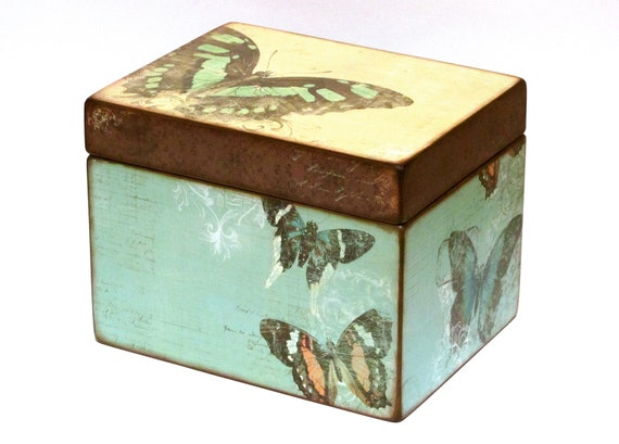 Greeting Card Organizer Holder - Wedding Card Box - Recipe Box - Butterflies - 5x8 inch cards