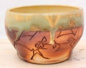 Ceramic Wood-fired Bowl with Petroglyph Hunting Scene