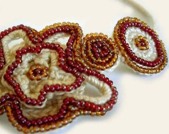Crochet Beaded Necklace - Plum & Amber Colored