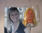 Fun Cartoon Portrait  Caricature ONE Hand Painted Wine Glasses  OOAK Personalized