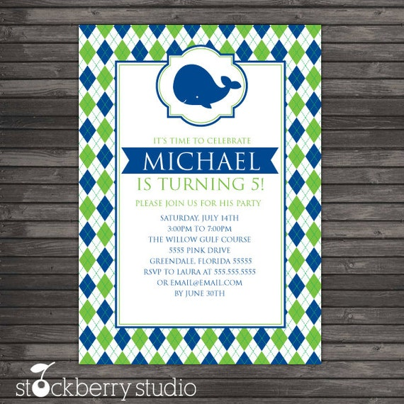 Whale Birthday Invitation - Navy Blue and Green Argyle Birthday Party Invite - Boy Birthday Party - Whale Baby Shower