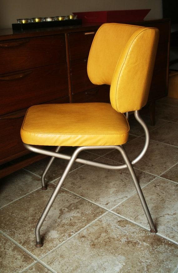 Retro Yellow Vinyl Kitchen / Desk Chair by Brody - Mid Century Modern