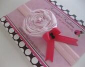 Beautiful Light Pink Satin Rosette Headband,with a hot pink bow and black rhinestones-baby headband-adult headband