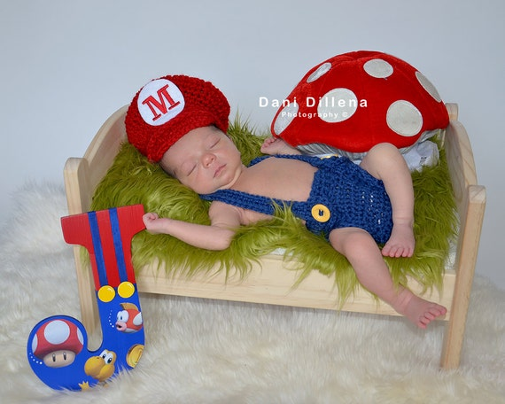 Mario or Luigi Hat and Diaper Cover