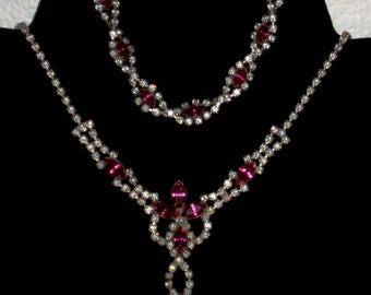 Vintage Raspberry Pink and Clear Rhinestone Necklace Set