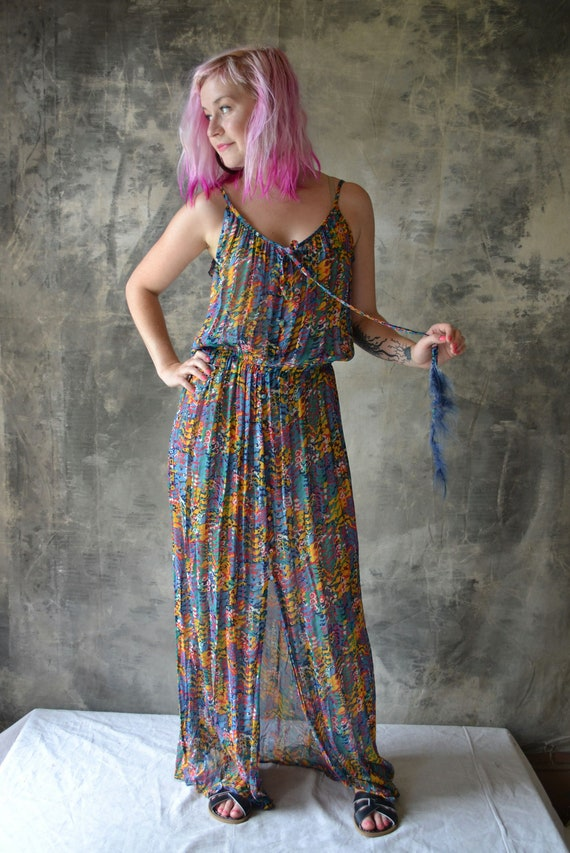 1970s Bohemian Patterned Dress with Feathers/Beads