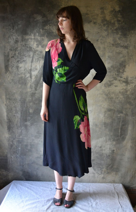1940s Pink Rose Rayon Dress