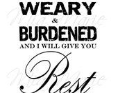 I Will Give You Rest - Digital Printable Christian Subway Art, 8 x 10, Customizable Colors
