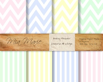 INSTANT DOWNLOAD - Digital Papers Scrapbooking Backgrounds Chevron, Stripes, Pastel, Pink, Blue, Yellow, Green Printable Baby 12x12 jpg