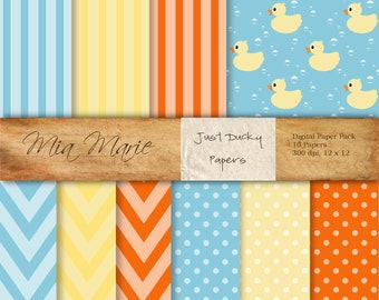 INSTANT DOWNLOAD - Digital Papers Scrapbooking Backgrounds Duck, Ducky, Duckie, Chevron, Dots, Stripes, Bubbles, Baby Printable 12x12 jpg