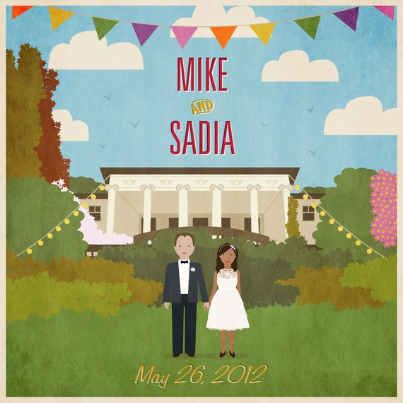 Custom illustrated wedding invitation of the couple and your venue. Rustic feel, with matching bunting - digital file DIY print it yourself
