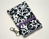 Custom fabric cell phone holder, iPhone 6 6s Plus, iPhone 7 plus, 5 5s 5c 4s smartphone, wallet, case, purse, sleeve, pouch-Spash of Purple