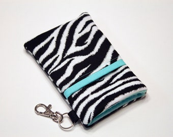 iPhone 7 Plus Case, Cell phone Pouch, iPhone Sleeve, iPhone 6 Plus Case, LG G4 Phone Case, Samsung S6 Edge Case, HTC One Case- Zebra Teal