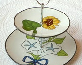 SALE Mod Hostess Stand, 2 Tier Sunflower & Morning Glory Midcentury Table Display Centerpiece for Cupcakes, Birthday or Snacks