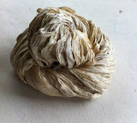 Recycled sari silk ribbon yarn. Natural shades. RESERVED.