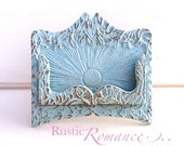 Business Card Holder-Rustic Cast Iron-Old Fashioned -Retro-Craft Fair Booth -Pale Sky -Aqua Blue -Turquoise Blue -Metal Decor -Desk -Winter