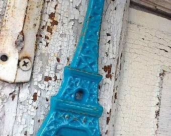 Eiffel Tower, Shabby Chic , French Aqua , French Decor, Cast Iron-Aqua Blue Bottle Opener-Vintage Inspired-Patio-Paris,Summer Home-Turquoise