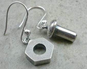 Nuts & Bolts Earrings in Sterling Silver- Industrial Jewelry- Dangle Earings- Nut N Bolt Jewellery- Pierced Ear- Sterling Silver Earrings