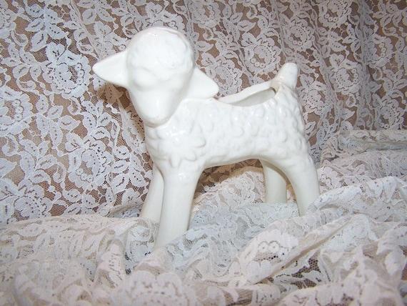 Vintage Lamb Planter, Cottage White Pottery